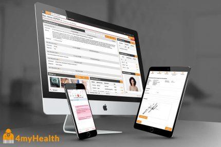 Praxissoftware von 4myhealth - Software auf Monitor, Tablett und Smartphone zu sehen