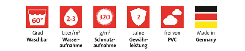 EMCO Hinweisschild für Fußmatten - 60° waschbar | 2-3 Liter/m² Wasseraufnahme | 320 g/m² Schmutzaufnahme | 2 Jahre Gewährleistung | frei von PVC | Made in Germany und passende Symbole darüber