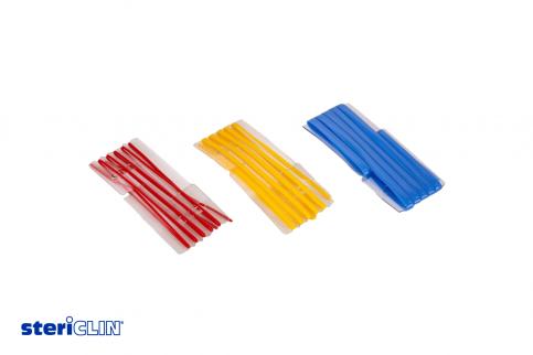 SteriClin Gefäßschlingen in Rot, Gelb und Blau