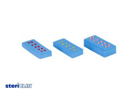 SteriClin Instrumentenpolster in Blau drei Stück nebeneinander