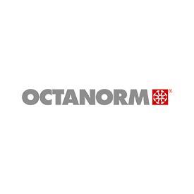 Logo der Firma OCTANORM mit rotem Kreuzsymbol