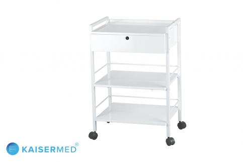 Beistellwagen EASY mit absperrbarer Schublade und 3 Ablagen in weiß